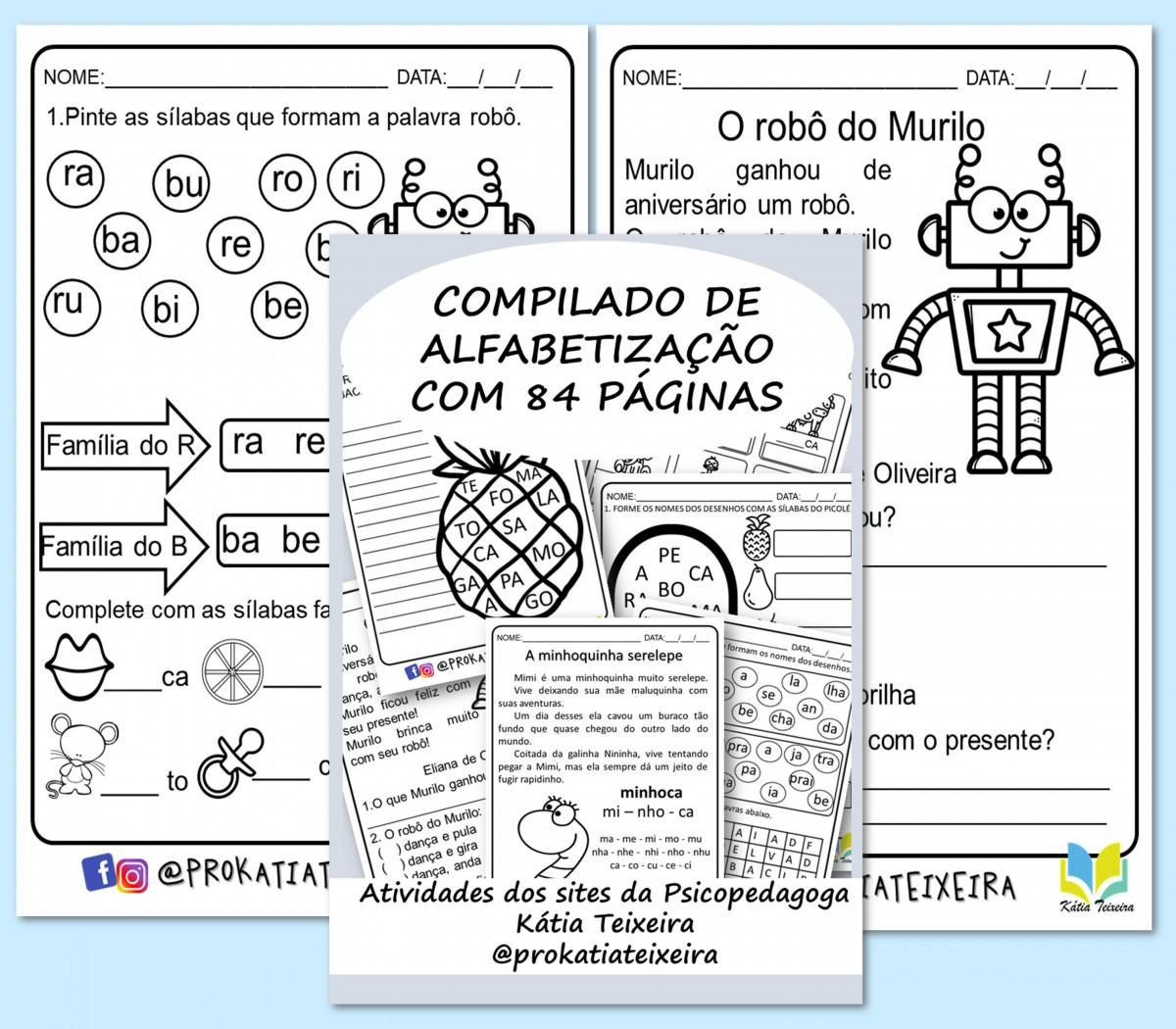 Foto 1 - Compilado de atividades de alfabetização Kátia Teixeira com 84 páginas