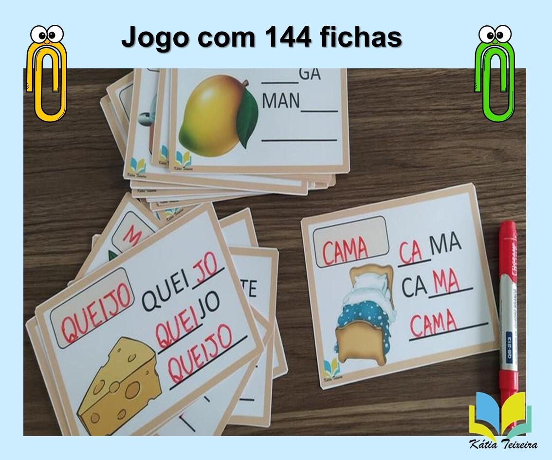 Foto 1 - Jogo para alfabetização: sílabas faltosas com 144 fichas