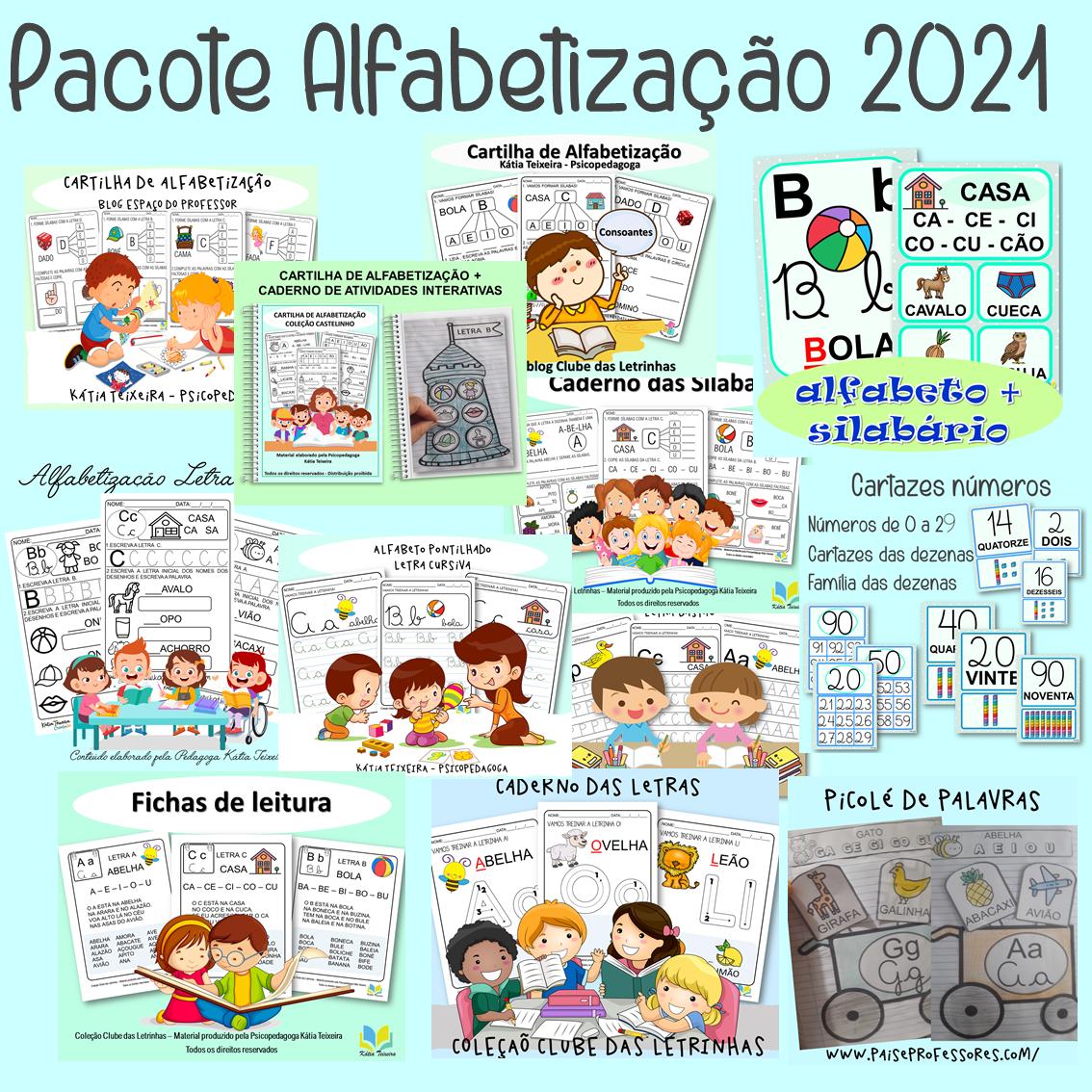 Foto 1 - Kit alfabetização com 11 apostilas + cartazes do alfabeto, silabário e números até 100