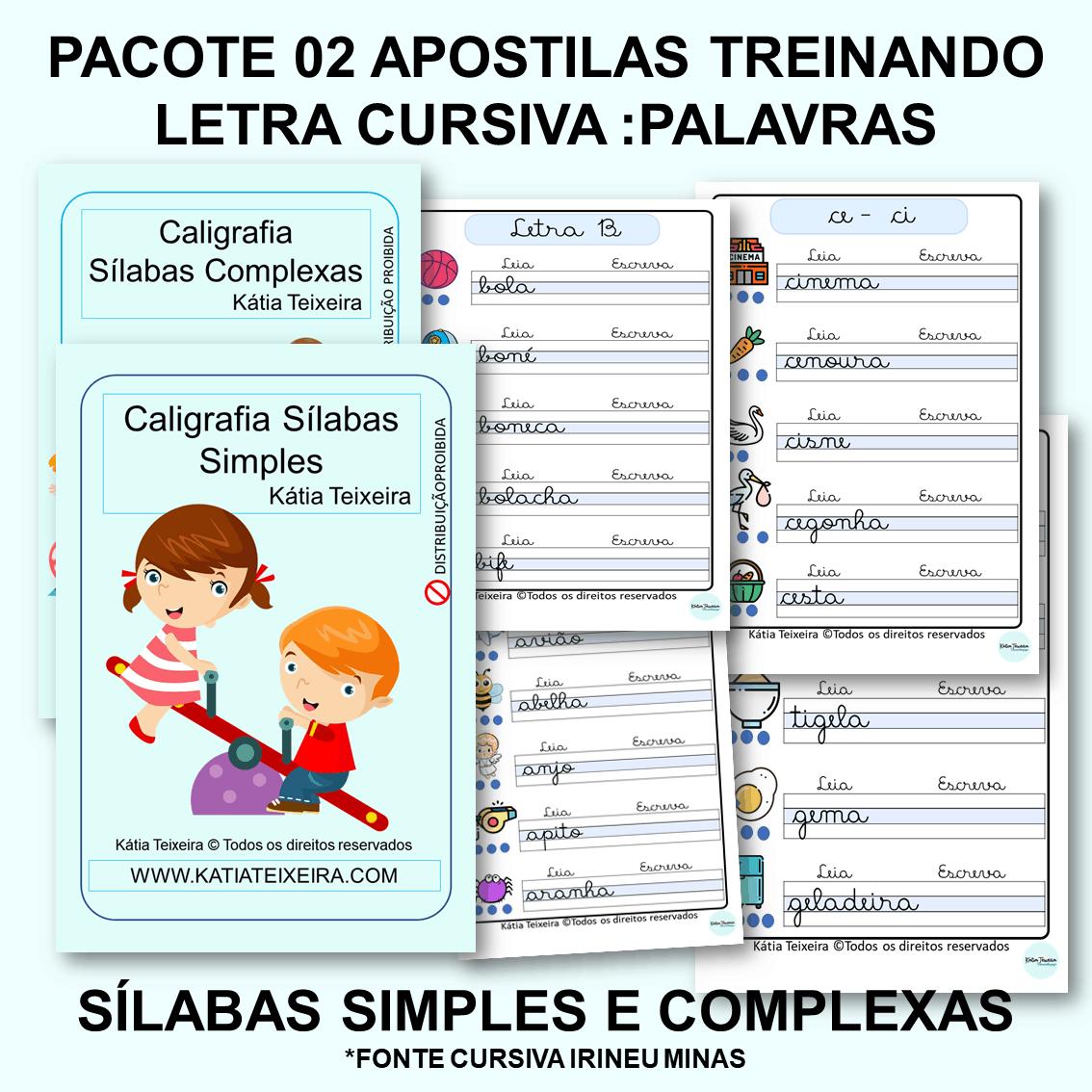Foto 1 - Pacote treinando letra cursiva com 02 apostilas sílabas simples e complexas