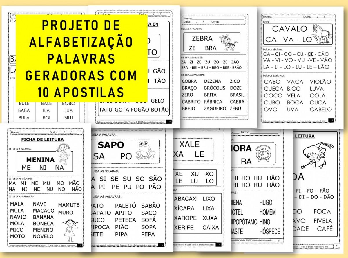 Foto 1 - PROJETO DE ALFABETIZAÇÃO PALAVRAS GERADORAS COM 10 APOSTILAS
