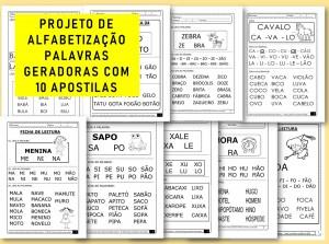 PROJETO DE ALFABETIZAÇÃO PALAVRAS GERADORAS COM 10 APOSTILAS