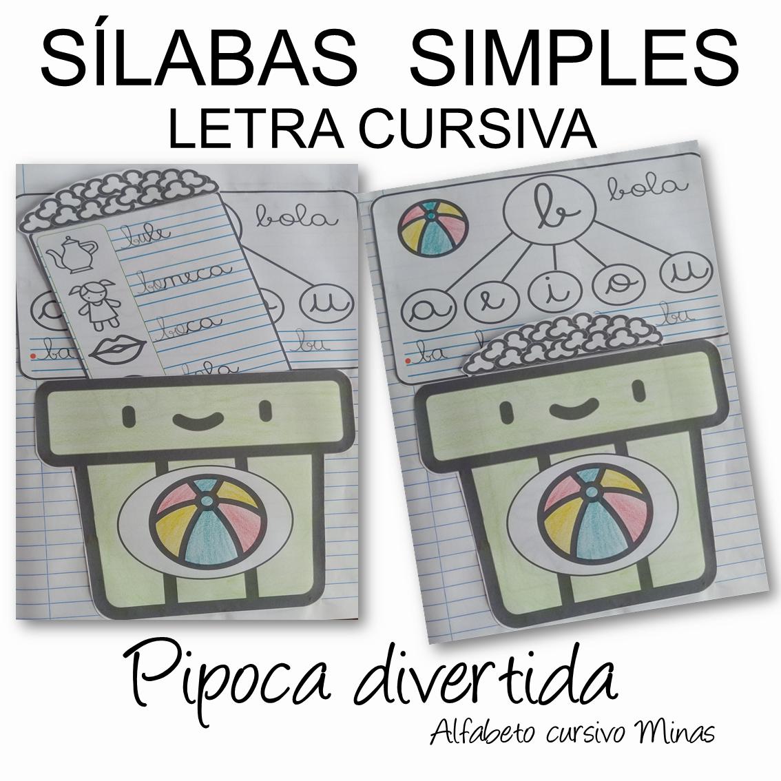 Foto 1 - Sílabas simples letra cursiva Pipoca Divertida com todas as letras