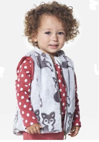 Imagem do produto Colete Infantil Bebê Menina Em Pelúcia Com Acabamentos Especiais