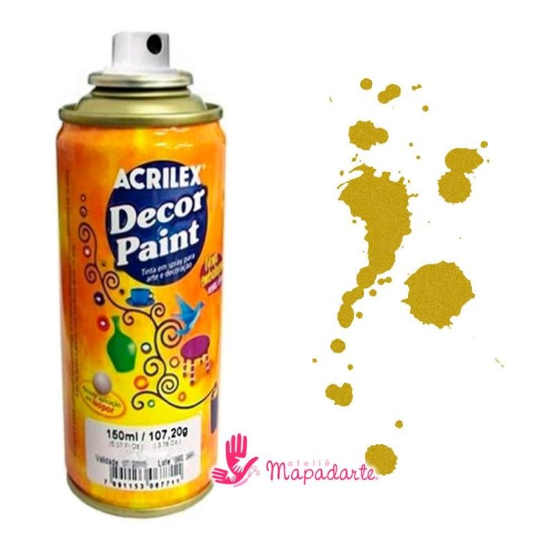 Foto 1 - Cód 1634 Decor paint aerosol 150 ml Acrilex (ouro)