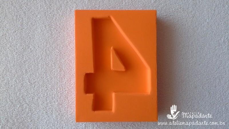 Foto2 - Cód 574 Molde de número quatro(4) modelo N1 (Para velas de biscuit)