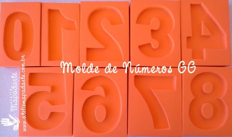 Foto2 - Cód 579 Kit Moldes de números (0 a 9) 9 peças modelo N1 (Para velas de biscuit)