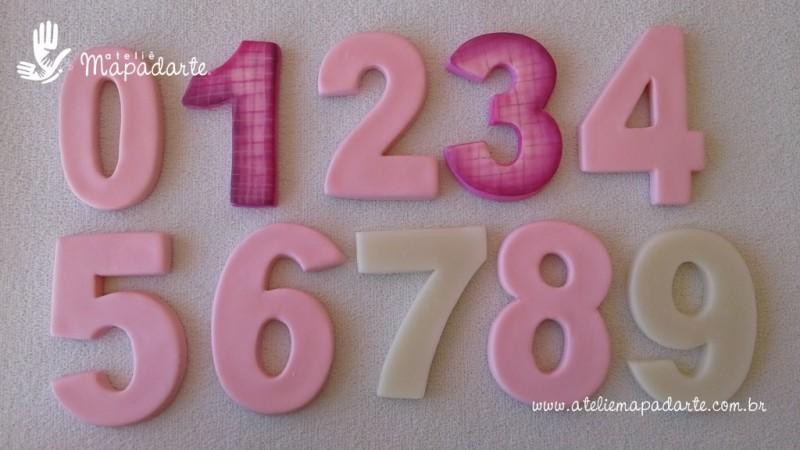 Foto 1 - Cód 579 Kit Moldes de números (0 a 9) 9 peças modelo N1 (Para velas de biscuit)