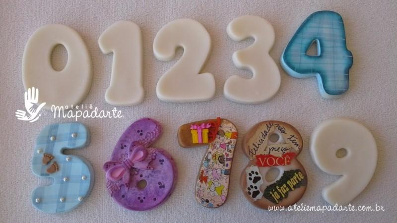 Foto 1 - Cód 590 Kit molde de números de 0 a 9 (09 peças) modelo N2 (Para velas de biscuit)