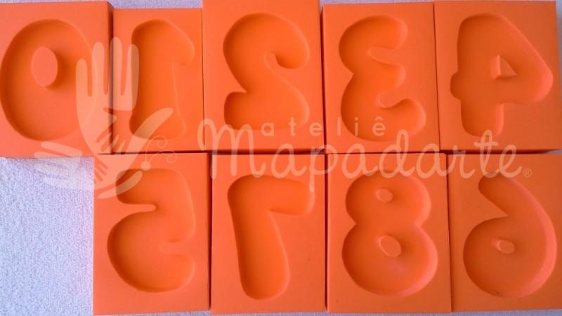 Foto2 - Cód 590 Kit molde de números de 0 a 9 (09 peças) modelo N2 (Para velas de biscuit)