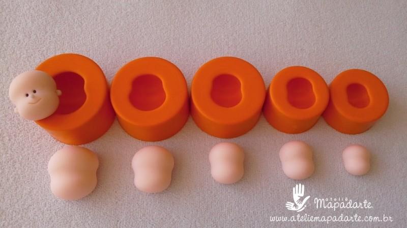 Foto 1 - Cód 596 Kit moldes de rostos 5 peças (modelos 1,2,3,4,5)