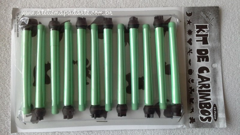 Foto2 - Cód M050 Kit marcadores (carimbos) c/ 12 peças Tia Cida