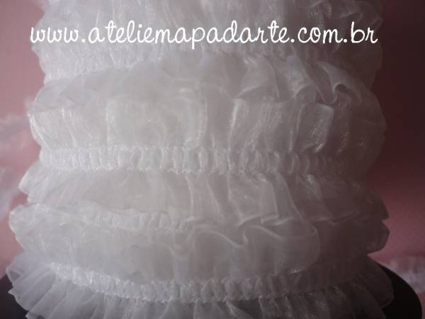 Foto 1 - Cód M1009 Renda com elástico branca franzido ao meio 1 mt