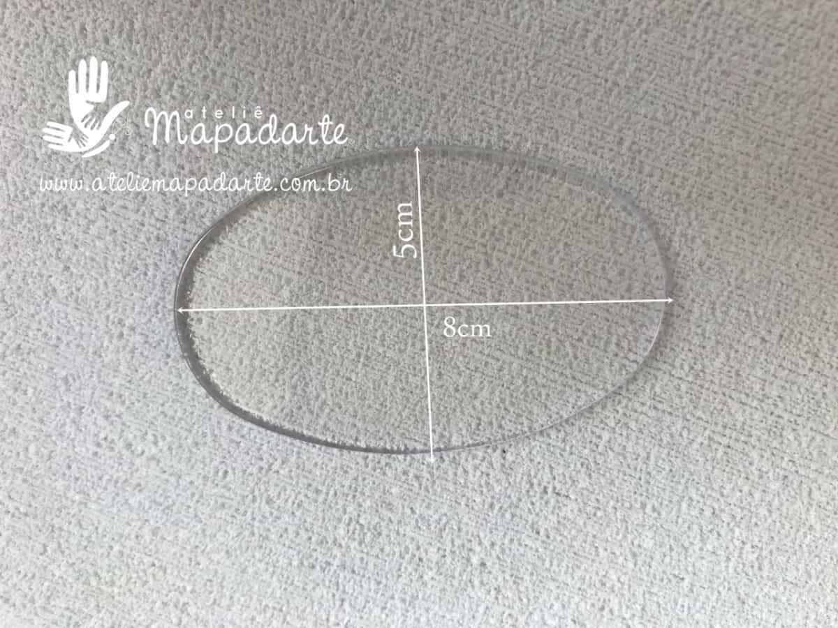 Foto 1 - Cód M1066 Base oval acrílica transparente 06 un 5x8cm