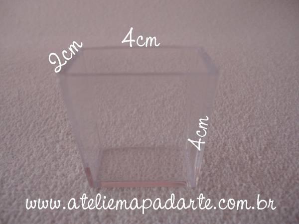 Foto2 - Cód M1070 Caixa acrílico transparente sem tampa Florbrás 4X4X2cm 1 un