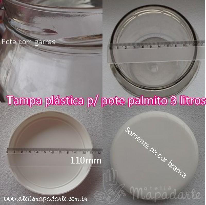 Foto5 - Cód M1110 Tampa plástica branca para pote palmito 3 litros 110mm