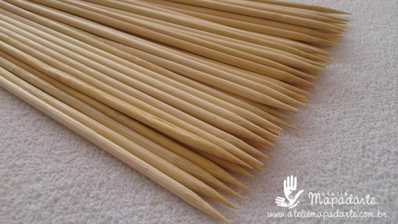 Foto2 - Cód M1159 Palito churrasco de bambu 25cm c/ 50 un
