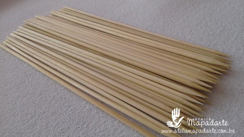 Foto 1 - Cód M1159 Palito churrasco de bambu 25cm c/ 50 un