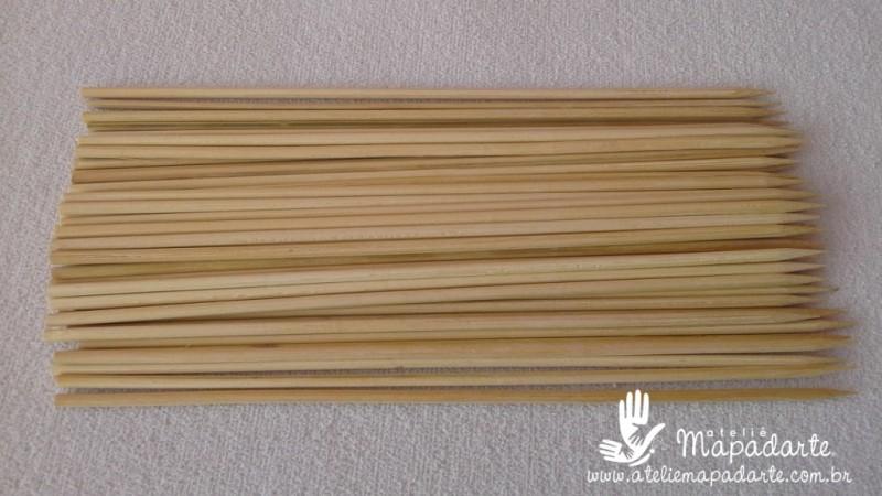 Foto2 - Cód M1160 Palito de churrasco de bambu 18cm 50un