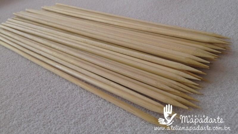 Foto 1 - Cód M1160 Palito de churrasco de bambu 18cm 50un