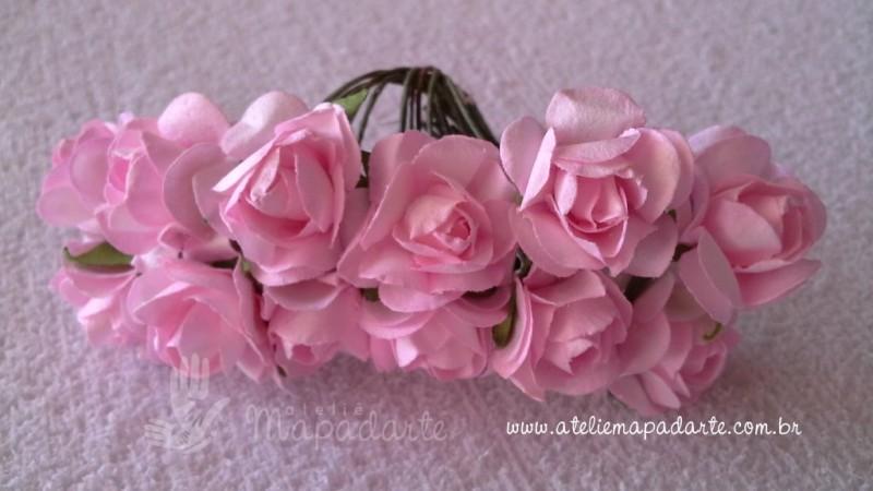Foto2 - Cód M346 Rosinhas de papel com caule 12 un (rosa claro)