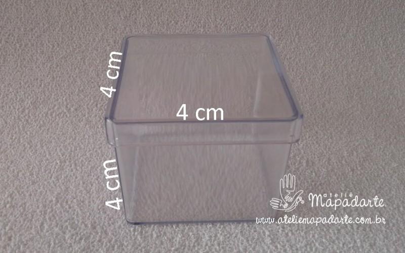 Foto 1 - Cód M1360 Caixa quadrada de acrilico transparente 4x4x4cm