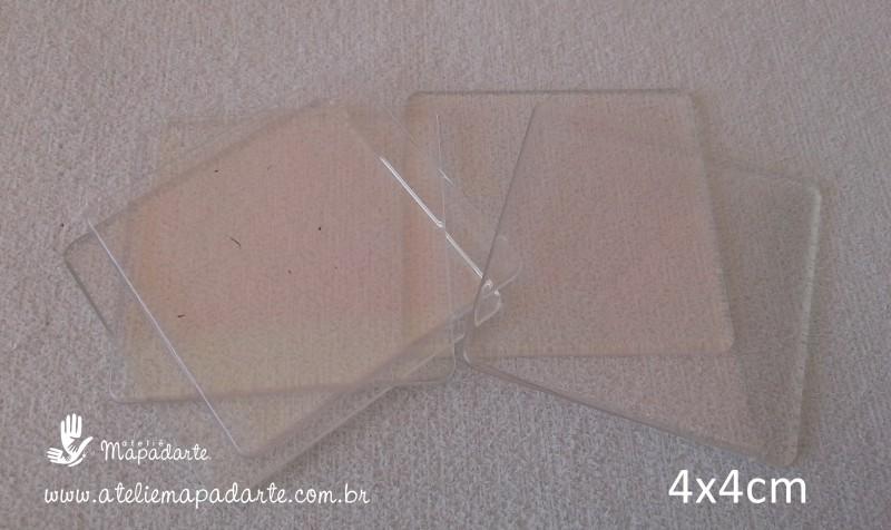 Foto 1 - Cód M1380 Base acrílica quadrada transparente 10 un 4x4cm