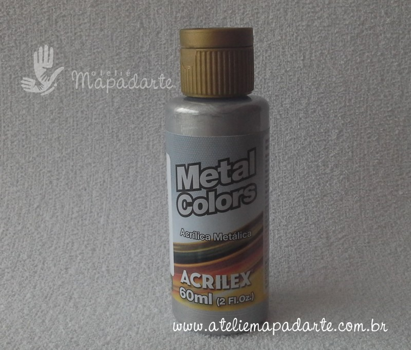 Foto 1 - Cód M1404 Tinta metal colors alumínio 60 ml Acrilex (599)