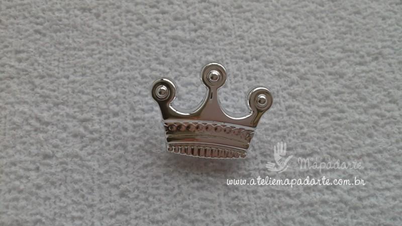 Foto 1 - Cód M1437 Botão coroa com 10 un ( prata)