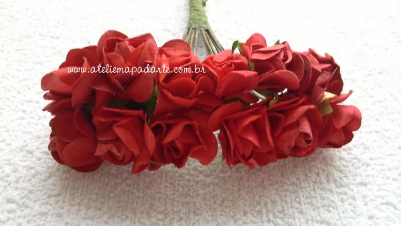 Foto4 - Cód M1441 Rosinhas de papel com caule vermelha 12 un