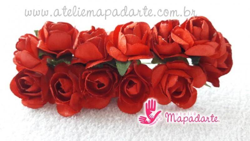 Foto2 - Cód M1441 Rosinhas de papel com caule vermelha 12 un