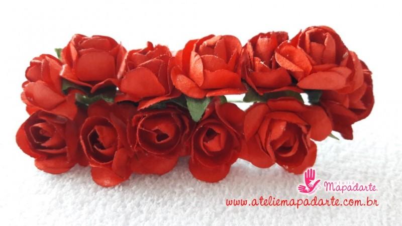 Foto 1 - Cód M1441 Rosinhas de papel com caule vermelha 12 un
