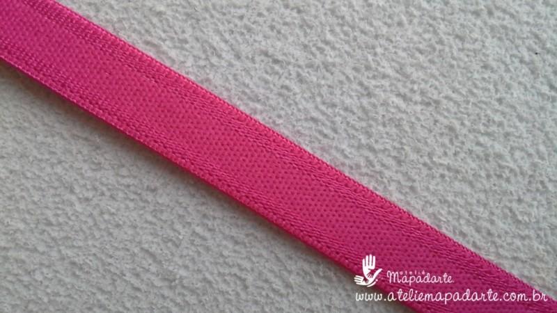 Foto 1 - Cód M155 Elástico rosa pink chato 1 mt