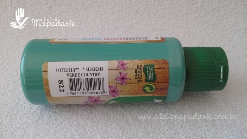 Foto2 - Cód M1501 Tinta acrílica fosca verde country nature colors 60 ml (822)
