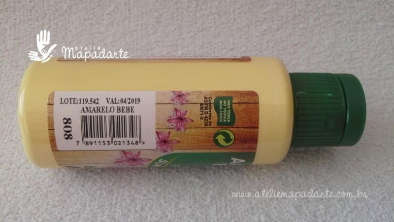 Foto2 - Cód M1515 Tinta acrílica fosca amarelo bebe nature colors 60 ml (808)