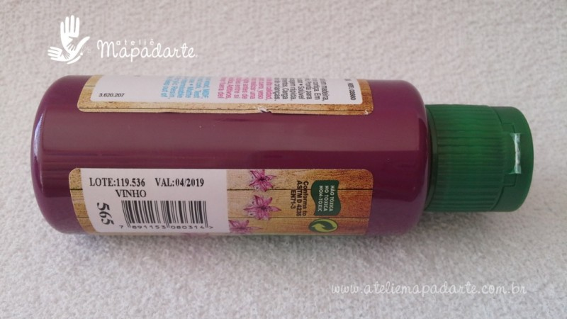 Foto2 - Cód M1516 Tinta acrílica fosca vinho nature colors 60 ml (565)