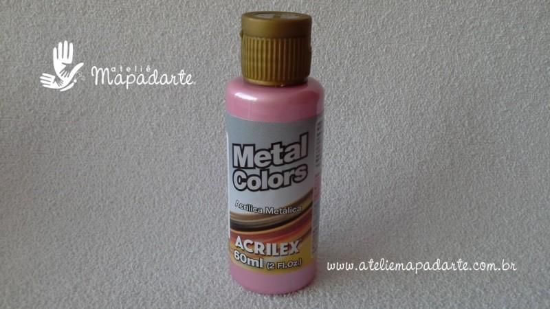Foto 1 - Cód M1565 Tinta acrílica metálica rosa metal colors 60 ml (537)