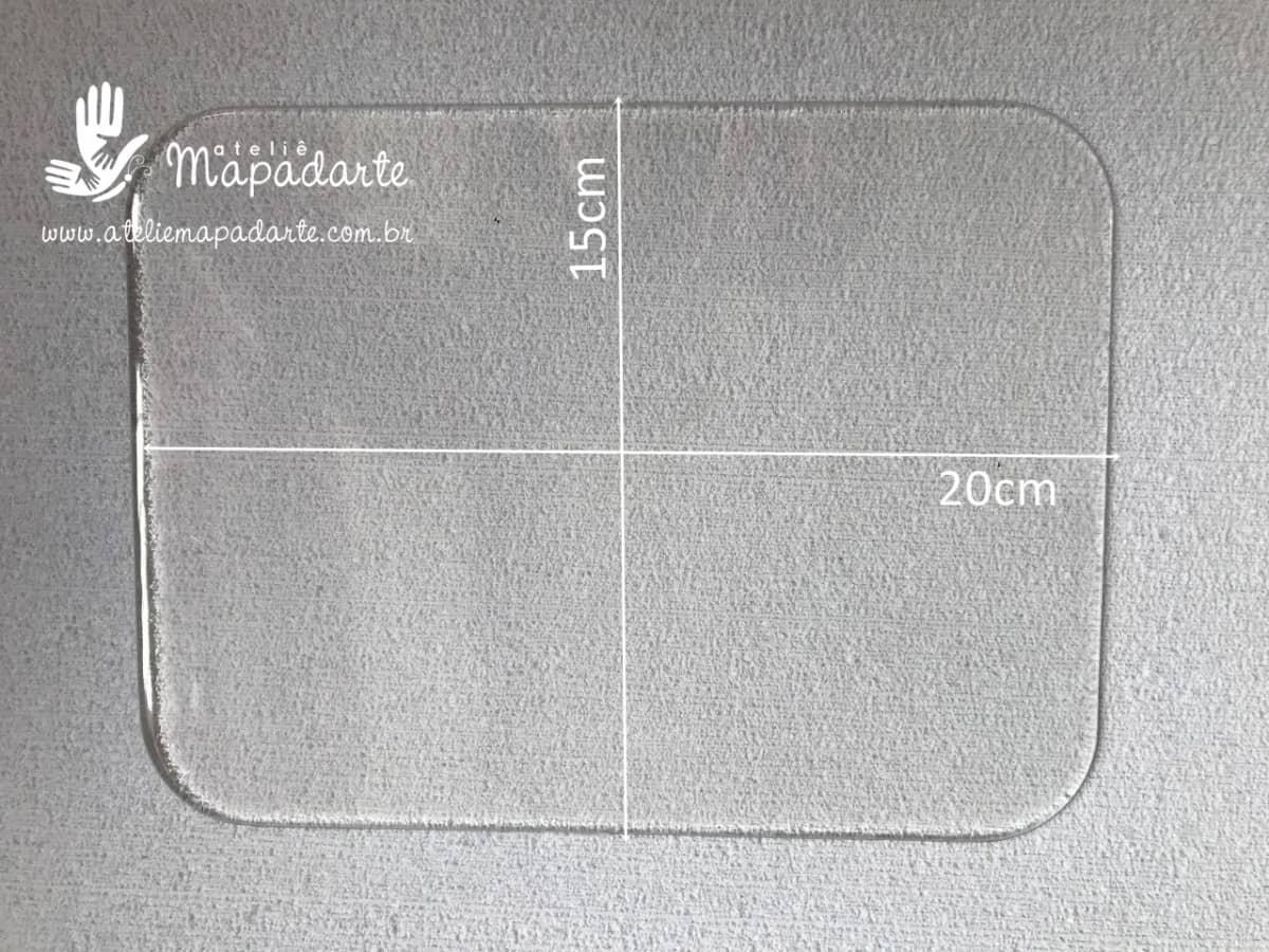 Foto 1 - Cód M157 Base retangular transparente de acrílico 20x14.5cm 01 un
