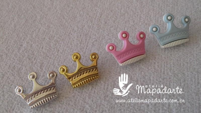 Foto2 - Cód M1604 Botão coroa com 10 un ( rosa)
