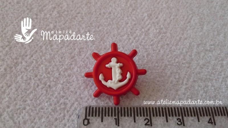 Foto2 - Cód M1611 Botão timão vermelho/âncora branca com 10 un