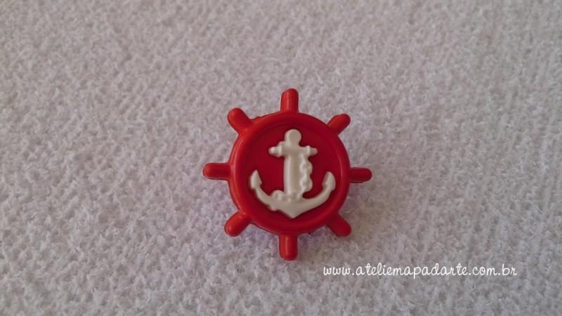 Foto 1 - Cód M1611 Botão timão vermelho/âncora branca com 10 un
