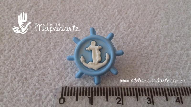 Foto2 - Cód M1612 Botão timão azul claro/âncora branca com 10 un