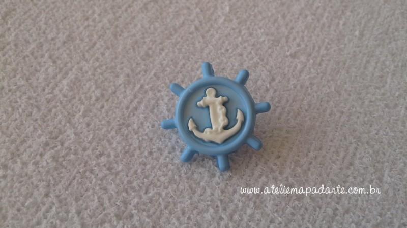 Foto 1 - Cód M1612 Botão timão azul claro/âncora branca com 10 un