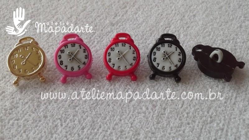 Foto2 - Cód M1674 Botão relógio rosa 10 un