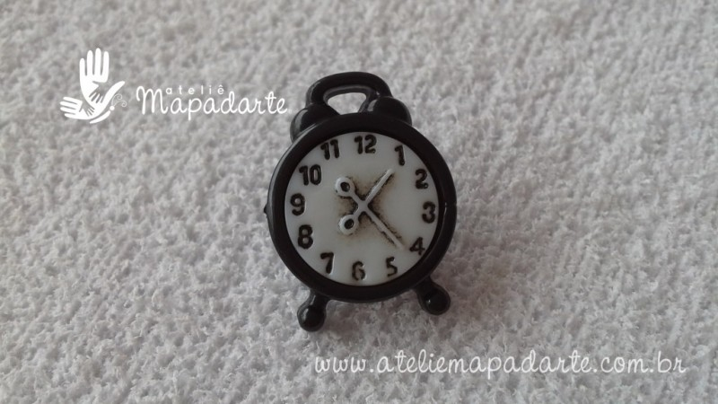 Foto 1 - Cód M1675 Botão relógio preto 10 un