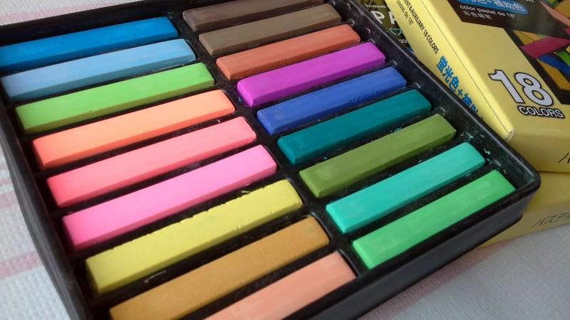 Foto 1 - Cód M1890 Giz pastel seco com cores fluorescente 18 cores