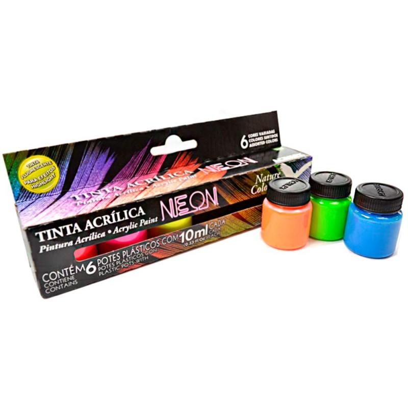 Foto 1 - Cód M1922 Tinta acrílica neon nature colors 6un Acrilex