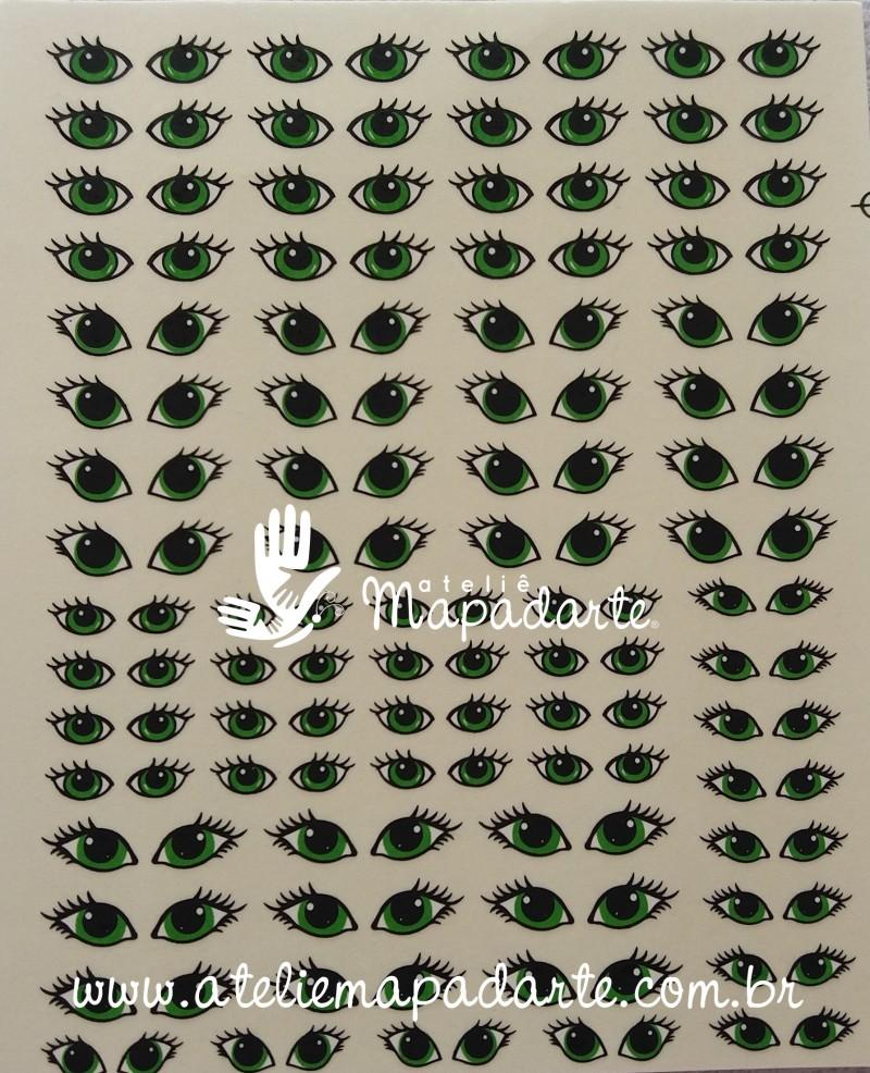 Foto 1 - Cód M1958 Decalque de olhos (verde) 01 un 69 pares