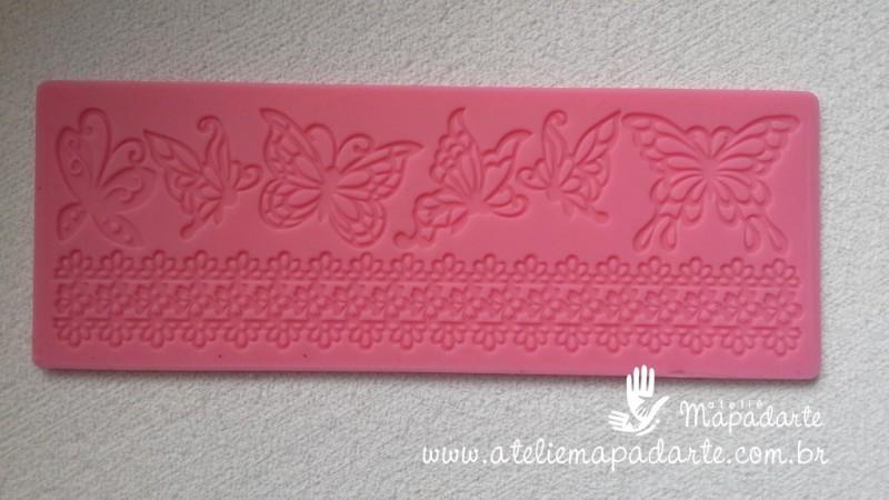 Foto4 - Cód M200 Molde renda de silicone borboletas (importado) 1 un
