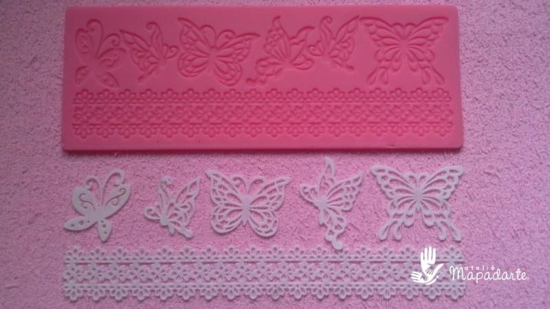 Foto2 - Cód M200 Molde renda de silicone borboletas (importado) 1 un